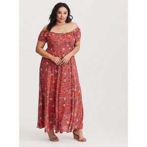 Torrid On or Off Shoulder Floral Maxi Dress Size 2